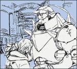 2boys alphonse_elric armor brothers coat edward_elric fullmetal_alchemist kakuu long_hair lowres multiple_boys siblings