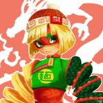 1girl 2017 absurdres arms_(game) bangs beanie blonde_hair blunt_bangs bob_cut chinese chinese_clothes clothes_writing crop_top dated domino_mask dragon dragon_(arms) eastern_dragon flat_chest green_eyes green_shirt hat highres knit_hat looking_away looking_to_the_side mag_(cocoa) mask min_min_(arms) orange_hat orange_shirt outline ringed_eyes scales shirt short_hair signature turtleneck undershirt upper_body zipper zipper_pull_tab