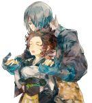 1boy 1girl asama_(fire_emblem_if) fire_emblem fire_emblem_if genderswap genderswap_(mtf) hug hug_from_behind japanese_clothes setsuna_(fire_emblem_if) shourou_kanna