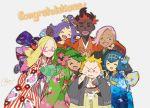 3boys 4girls acerola_(pokemon) bowl chopsticks congratulations dark_skin dark_skinned_male eating ilima_(pokemon) japanese_clothes kaki_(pokemon) kimono looking_at_viewer maamane_(pokemon) mao_(pokemon) matsurika_(pokemon) multiple_boys multiple_girls pokemon pokemon_(game) pokemon_sm smile suiren_(pokemon) trial_captain v w42hu