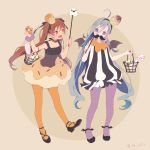 2girls :d ahoge ankle_wings basket bat_wings black_shoes blue_hair brown_background brown_eyes brown_hair candy candy_cane colis commentary_request cupcake doughnut dress fake_mustache food food_themed_clothes food_themed_hair_ornament grey_eyes grey_hair hair_between_eyes hair_ornament halloween halloween_costume kantai_collection kiyoshimo_(kantai_collection) libeccio_(kantai_collection) long_hair low_twintails multicolored_hair multiple_girls open_mouth orange_legwear pantyhose purple_legwear ribbon shoes simple_background sleeveless sleeveless_dress smile striped striped_dress twintails twitter_username wings