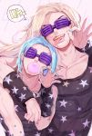 2boys bare_shoulders blonde_hair blue_hair blue_nails brown_hair chewing_gum dvqjo grills gyro_zeppeli highres johnny_joestar jojo_no_kimyou_na_bouken lipstick makeup male_focus multiple_boys nail_polish purple_lipstick star star_print steel_ball_run sunglasses tongue tongue_out wristband