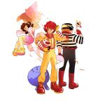 1girl 2boys :3 birdie_the_early_bird black_eyes boots brown_hair carrying_under_arm clenched_hand food full_body goggles goggles_on_head grimace_(mcdonald's) hamburger hamburglar helmet leg_cling looking_at_another looking_at_viewer low_twintails mcdonald's motorcycle_helmet multiple_boys natasha_allegri pantyhose personification red_boots ronald_mcdonald scarf short_twintails simple_background smile spinning striped striped_legwear twintails white_background