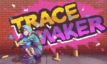 1girl alternate_costume black_hair brick_wall gloves graffiti graffiti_tracer highres hood hoodie looking_at_viewer nyasa overwatch solo spray_can squatting tracer_(overwatch) wall
