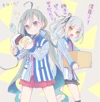 2girls ahoge alternate_costume black_legwear black_skirt blue_eyes blue_hair brown_eyes colis employee_uniform grey_hair kantai_collection kasumi_(kantai_collection) kiyoshimo_(kantai_collection) kneehighs lawson long_hair long_sleeves low_twintails multiple_girls open_mouth pleated_skirt purple_skirt side_ponytail skirt smile sparkle translation_request twintails twitter_username uniform very_long_hair
