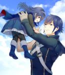 1boy 1girl blue_eyes blue_hair blush carrying child father_and_daughter fire_emblem fire_emblem:_kakusei krom long_hair lucina mejiro short_hair smile younger