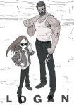 1boy 1girl backpack bag beard black_hair claws commentary copyright_name facial_hair father_and_daughter hekoko jacket laura_kinney logan_(movie) long_hair long_sleeves looking_at_viewer monochrome muscle pants simple_background sunglasses wolverine x-men