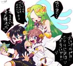 1girl 2boys black_hair blue_eyes blush bracer breasts brown_hair dark_pit green_eyes green_hair jewelry kid_icarus kid_icarus_uprising long_hair multiple_boys necklace open_mouth palutena pit_(kid_icarus) red_eyes smile super_smash_bros. tiara translation_request very_long_hair wings