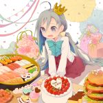 1girl ahoge birthday birthday_cake blue_bow blue_bowtie blue_hair bouquet bow bowtie cake colis commentary_request confetti crown cupcake cutting_board dress drooling flower food fruit gift grey_eyes grey_hair grey_legwear hair_between_eyes hamburger happy_birthday heart kantai_collection kiyoshimo_(kantai_collection) long_hair long_sleeves looking_down low_twintails macaron mini_crown multicolored_hair no_shoes open_mouth pantyhose shirt simple_background sitting sleeveless sleeveless_dress solo strawberry streamers string_of_flags sushi twintails twitter_username v_arms very_long_hair wariza white_background white_shirt