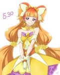 1girl amanogawa_kirara brown_hair c: chocokin closed_mouth cowboy_shot cure_twinkle detached_collar earrings gloves go!_princess_precure jewelry long_hair looking_at_viewer low-tied_long_hair magical_girl multicolored_hair precure quad_tails redhead skirt smile solo star star_earrings streaked_hair twintails two-tone_hair v_arms violet_eyes white_background white_gloves yellow_skirt