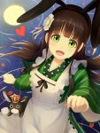 1girl ama_usa_an_uniform animal animal_ears anko_(gochiusa) apron bangs black_hairband blunt_bangs breasts brown_hair clenched_hand cowboy_shot crown fake_animal_ears flower from_above full_moon gochuumon_wa_usagi_desu_ka? green_eyes green_kimono hair_flower hair_ornament hairband highres japanese_clothes kimono long_hair long_sleeves looking_at_viewer mazeru_(oekaki1210) mini_crown moon night night_sky open_mouth outdoors petals petals_on_water rabbit rabbit_ears ribbon ripples sidelocks sky small_breasts smile star_(sky) straight_hair striped ujimatsu_chiya uniform vertical-striped_kimono vertical_stripes water white_apron white_ribbon wide_sleeves