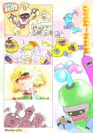 4koma arms_(game) bangs bellaraika blonde_hair blunt_bangs bob_cut character_name cobushii_(arms) comic dna_man_(arms) domino_mask green_eyes highres mask mechanica_(arms) min_min_(arms) ninjara_(arms) ribbon_girl_(arms) sexually_suggestive short_hair spring_man_(arms) suggestive_fluid thumbs_up twintelle_(arms) twitter_username