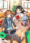 2girls :d ahoge akino_teku bangs black_hair black_skirt blazer blue_legwear blue_shirt blunt_bangs blush brown_dress brown_hair brown_shoes cafe chair checkerboard_cookie coffee collared_shirt computer conoha cookie cup dress dress_shirt eyebrows_visible_through_hair food indoors jacket knees_together_feet_apart laptop loafers long_hair long_sleeves looking_at_viewer low_twintails mikumo_konoha mug multiple_girls neckerchief necktie official_art open_blazer open_clothes open_jacket open_mouth parted_lips pasona_tech plaid plaid_necktie red_neckerchief sailor_collar sailor_dress shirako_miso shirt shoes sitting skirt smile sneakers socks striped striped_legwear twintails very_long_hair white_legwear