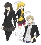 1boy 2girls amamiya_ren atlus bike_shorts black_hair black_legwear blazer blonde_hair genderswap genderswap_(ftm) genderswap_(mtf) glasses hood hoodie jacket kurusu_akira megami_tensei multiple_girls open_blazer open_clothes open_jacket pantyhose persona persona_5 sakamoto_ryuuji satou_(fujisanjj-mesigaumaize) school_uniform shorts_under_skirt skirt takamaki_anne turtleneck