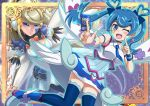 blonde_hair blue_angel blue_hair card commentary_request dorumam duel_monster earrings facial_tattoo jewelry tattoo thigh-highs trickster_holy_angel twintails wand wings yu-gi-oh! yuu-gi-ou_vrains zaizen_aoi