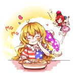 2girls ^_^ ahoge american_flag_dress apron barefoot blonde_hair chains closed_eyes clownpiece commentary_request earth_(ornament) eating food hand_on_own_cheek hat hat_removed headwear_removed heart hecatia_lapislazuli highres iiwake index_finger_raised jester_cap long_hair macaron mg_mg miniskirt moon_(ornament) multicolored multicolored_clothes multicolored_skirt multiple_girls neck_ruff pasta polka_dot polos_crown redhead skirt smile spatula spoon star star_print striped touhou translation_request very_long_hair wavy_hair