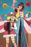 1boy 1girl ;) accordion balloon blonde_hair blue_eyes bow bowler_hat bowtie clown clown_nose confetti dress gloves hair_ornament hairclip harada_yuuichi hat highres instrument long_hair makeup one_eye_closed original pants red_eyes redhead smile striped striped_legwear thigh-highs top_hat twintails vertical-striped_pants vertical_stripes vest wooden_box wrist_cuffs yellow_gloves