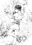 1boy belt closed_eyes diamond_wa_kudakenai drawing floor from_above jojo_no_kimyou_na_bouken kishibe_rohan male_focus monochrome profile sailor_collar seyo shoes shorts sneakers solo teenage wristband younger