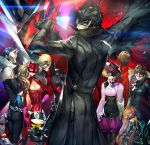 4boys 4girls :3 akechi_gorou animal_ears arm_at_side arsene_(persona_5) ascot belt belt_pouch biker_clothes black_hair blonde_hair blouse blue_eyes blue_hair bodysuit breasts brown_eyes brown_hair cape cat_ears chair cleavage coat cowboy_shot crossed_arms fox_ears fox_tail gloves green_eyes grin hand_on_hip hand_up hands_up high_collar highres jacket kitagawa_yuusuke kurusu_akira legs_crossed lens_flare lips long_hair long_sleeves looking_at_another mask morgana_(persona_5) multiple_boys multiple_girls night_vision_device niijima_makoto office_chair okumura_haru orange_hair panther_ears pants parted_lips persona persona_5 reckless_dog sakamoto_ryuuji sakura_futaba short_hair shorts sitting smile spikes squatting standing tail takamaki_anne twintails vest violet_eyes wings