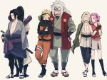2girls 4boys anger_vein back-to-back black_hair blonde_hair breasts cleavage closed_eyes facial_mark forehead_mark forehead_protector green_eyes grey_hair hand_on_another's_head haruno_sakura jacket_on_shoulders jiraiya multiple_boys multiple_girls naruto naruto_shippuuden orochimaru pink_hair smile spiky_hair tst0704 tsunade uchiha_sasuke uzumaki_naruto whisker_markings whiskers