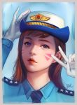 1girl alternate_costume artist_name bangs blue_background blue_shirt border brown_hair collared_shirt d.va_(overwatch) earrings eyeshadow face facepaint female_service_cap gloves hand_on_headwear highres jewelry lipgloss lips long_hair long_sleeves looking_at_viewer makeup necktie officer_d.va overwatch peter_xiao portrait shirt signature simple_background solo star stud_earrings swept_bangs upper_body v violet_eyes whisker_markings white_gloves