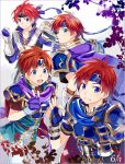 armor blue_eyes cape dual_persona fire_emblem fire_emblem:_fuuin_no_tsurugi fire_emblem:_kakusei fire_emblem_heroes gloves headband highres male_focus multiple_boys open_mouth redhead roy_(fire_emblem) short_hair smile super_smash_bros. yuki_(sumaburalove)