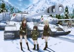 6+girls absurdres angrysico ankle_boots bandaid basket black_boots black_hair black_jacket black_skirt blonde_hair blue_eyes boots brown_boots brown_eyes brown_hair clara_(girls_und_panzer) crossed_arms emblem fang garrison_cap girls_und_panzer glaring green_jacket green_legwear ground_vehicle handkerchief hat highres itsumi_erika jacket katyusha knee_boots kneehighs kuromorimine_(emblem) kuromorimine_military_uniform kv-2 military military_vehicle miniskirt motor_vehicle mountain multiple_girls nishizumi_maho nonna pravda_(emblem) pravda_military_uniform red_shirt red_skirt shirt short_jumpsuit silver_hair skirt snow socks t-34 tank tank_helmet thermos tiger_i tree turtleneck vehicle_request vest