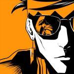 2boys diamond_wa_kudakenai earrings face food headband higashikata_jousuke jewelry jojo_no_kimyou_na_bouken kishibe_rohan limited_palette male_focus multiple_boys orange_(color) pompadour reflection sunglasses sweater tea_morgue