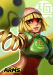 1girl arms_(game) bangs beanie blonde_hair chinese_clothes facepaint green_eyes hat highres logo looking_at_viewer mask min_min_(arms) short_hair smile solo