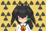 1girl bangs black_hair blush bow closed_mouth collared_shirt cosplay expressionless eyebrows_visible_through_hair hair_bow kemono_friends long_hair looking_at_viewer low_ponytail maiko_(maimaxes) radiation_symbol red_eyes reiuji_utsuho reiuji_utsuho_(cosplay) shirt shoebill_(kemono_friends) side_ponytail slit_pupils solo third_eye touhou