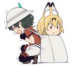 >_< 0_0 2girls animal_ears backpack bag black_gloves black_hair black_legwear brown_footwear brown_shoes bucket_hat closed_eyes closed_mouth dx extra_ears eyelashes facing_away from_side full_body gloves hair_between_eyes hat hat_feather heavy in_bag in_container kaban_(kemono_friends) kemono_friends loafers looking_away mattaku_mousuke md5_mismatch multiple_girls no_nose one_knee open_mouth orange_hair pantyhose profile red_shirt serval_(kemono_friends) serval_ears shadow shirt shoes short_hair short_sleeves shorts simple_background smile solid_oval_eyes sweat trembling wavy_mouth white_background