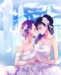 2girls alternate_costume alternate_hairstyle arm bare_arms bare_shoulders blue_eyes blue_hair blush breasts building c: cleavage closed_mouth clouds collarbone couple depth_of_field dokidoki!_precure dress earrings eye_contact face-to-face feathers female flower formal hair_flower hair_ornament hair_over_shoulder hand_holding highres hishikawa_rikka hug incipient_kiss jewelry kenzaki_makoto large_breasts lips long_hair looking_at_another matching_hair/eyes medium_breasts multiple_girls mutual_yuri neck necklace negom off-shoulder_dress outdoors precure purple_hair short_hair sky smile standing strapless strapless_dress violet_eyes wedding_dress white_dress white_flower wife_and_wife yuri