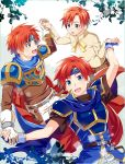 1boy age_progression armor blue_eyes cape fire_emblem fire_emblem:_fuuin_no_tsurugi fire_emblem_heroes gloves headband highres male_focus multiple_boys open_mouth redhead roy_(fire_emblem) short_hair smile super_smash_bros. younger yuki_(sumaburalove)