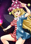 1girl american_flag_dress blonde_hair clownpiece dress fairy_wings fire hat highres jester_cap long_hair neck_ruff no_pants open_mouth polka_dot rappa_(rappaya) red_eyes short_dress short_sleeves sky smile solo star star_(sky) star_print starry_sky striped torch touhou very_long_hair wings