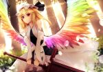 1girl alternate_costume alternate_weapon alternate_wings bare_shoulders blonde_hair blurry day depth_of_field detached_sleeves dress dutch_angle feathered_wings flandre_scarlet hat hat_ribbon highres lens_flare looking_at_viewer mob_cap multicolored multicolored_wings red_eyes ribbon short_hair side_ponytail sinkai smile solo sunlight sword touhou tree weapon white_dress wings
