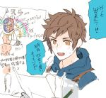 1boy breastplate brown_eyes brown_hair drawing fighter_(granblue_fantasy) gran_(granblue_fantasy) granblue_fantasy hood hoodie luchador_mask male_focus pencil projected_inset rollermet signature simple_background smile solo translation_request upper_body white_background wrestler_(granblue_fantasy)