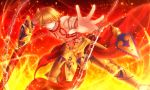 1boy amano-sora armor blonde_hair chains ea_(fate/stay_night) earrings fate/stay_night fate_(series) fire gilgamesh holding holding_weapon jewelry necklace outstretched_arm red_eyes smile solo weapon