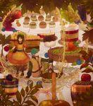 1boy 1girl bow cake cupcake fire_emblem fire_emblem:_rekka_no_ken food hair_between_eyes hair_bow lijupy lowen_(fire_emblem) pastry rebecca_(fire_emblem)