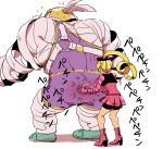 1boy 1girl arms_(game) ass bandage bike_shorts blonde_hair boots bow flying_sweatdrops from_behind full_body hair_bow high_heels master_mummy_(arms) pleated_skirt ribbon_girl_(arms) simple_background size_difference skirt spanking sunoko24 white_background wrestling_outfit