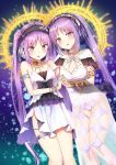 2girls armlet breasts brown_eyes choker cleavage collarbone dress dutch_angle euryale eyebrows_visible_through_hair fate/grand_order fate/hollow_ataraxia fate_(series) hairband jewelry lolita_hairband long_hair looking_at_viewer multiple_girls necklace open_mouth panties piripun purple_hair purple_panties see-through short_dress siblings sisters sleeveless sleeveless_dress small_breasts standing stheno thigh_strap twintails underwear violet_eyes white_dress