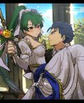1boy 1girl armor bare_shoulders blue_eyes blue_hair blush bouquet breasts bridal_veil bride cape carrying choker closed_mouth couple day detached_sleeves dress eye_contact fire_emblem fire_emblem:_rekka_no_ken fire_emblem_heroes flower formal green_eyes green_hair hector hector_(fire_emblem) hetero high_ponytail highres husband_and_wife indoors kometubu0712 long_hair looking_at_another lyndis_(fire_emblem) medium_breasts neck nintendo pink_flower ponytail princess_carry short_hair shy sky smile suit veil very_long_hair wedding wedding_dress white_choker white_detached_sleeves white_dress yellow_flower