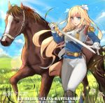 1girl armor belt bird blonde_hair blue_clothes blue_hair blue_sky boots chinese clouds day english epaulettes gloves grass grasslands hair_ornament hand_up holding holding_sword holding_weapon horse light_particles long_hair looking_at_viewer mou_zhi_pingguo open_hand open_mouth pants richelieu_(zhan_jian_shao_nyu) sky sunlight sword weapon white_flower white_gloves white_pants wind zhan_jian_shao_nyu