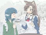 2girls :d animal_ears apron ascot bangs blue_dress blue_eyes blue_hair blush bow brooch brown_eyes brown_hair choker collarbone collared_dress cup dress drink eye_contact eyebrows eyebrows_visible_through_hair eyelashes fangs fingernails frilled_apron frills from_side geppewi green_kimono grey_choker hair_intakes hands_clasped hatching_(texture) head_fins holding holding_tray imaizumi_kagerou japanese_clothes jewelry juliet_sleeves kimono long_hair long_sleeves looking_at_another maid maid_apron mermaid monochrome_background monster_girl multiple_girls open_mouth outdoors own_hands_together profile puffy_sleeves red_ascot red_ribbon ribbon ringlets rock sanpaku shadow sharp_fingernails short_hair sky sleeve_cuffs smile stream sweat swept_bangs table tareme teacup teeth thick_eyebrows touhou tray tree tsurime upper_body upper_teeth waitress wakasagihime water white_apron white_bow wide_sleeves wolf_ears