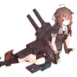 1girl ahoge arm_support black_gloves blurry braid brown_eyes brown_hair depth_of_field fingerless_gloves full_body gloves gurin33 hair_flaps kantai_collection knees light_smile looking_at_viewer rudder_shoes shigure_(kantai_collection) side_braid simple_background sketch socks solo torpedo_tubes turret white_background