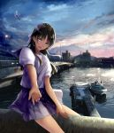 1girl :d black_hair boat bow building chef_no_kimagure_salad city clouds dusk hair_bow highres lavender_bow long_hair looking_at_viewer mountain open_mouth original outstretched_arm pleated_skirt river sailor_collar school_uniform skirt sky smile solo watercraft wind yellow_eyes