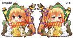 1girl ahoge beret bird blush chibi epidendrum_(flower_knight_girl) flower_knight_girl flower_pot hair_ribbon hat kadose_ara rabbit raccoon ribbon sample side_ponytail smile squirrel