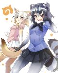 2girls :3 :d absurdres animal_ears black_bow black_bowtie black_gloves black_hair black_skirt blonde_hair blue_shirt blush bow bowtie breast_pocket brown_eyes common_raccoon_(kemono_friends) cowboy_shot extra_ears eyebrows_visible_through_hair fennec_(kemono_friends) fox_ears fox_tail fur_collar gloves grey_hair hand_up highres japari_symbol kemono_friends looking_at_viewer miniskirt multiple_girls open_mouth pantyhose paw_pose pink_sweater pleated_skirt pocket raccoon_ears raccoon_tail sangatsu_(sangatsu_05) shirt short_hair short_sleeves skirt smile sweater tail teeth thigh-highs white_background white_gloves white_skirt yellow_bow yellow_bowtie yellow_legwear zettai_ryouiki