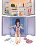 1girl absurdres bangs barefoot black_hair blunt_bangs bottle collarbone feet fish food fruit green_eyes highres hot in_container in_refrigerator long_hair long_toes meat navel orange_hair original panties pineapple pleated_skirt refrigerator school_uniform seal serafuku short_sleeves shrimp_cc simple_background sitting skirt solo striped striped_panties summer sweat toes underwear watermelon white_background