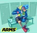 1boy al_bhed_eyes arms_(game) blue_hair boxing_gloves domino_mask drill_hair full_body highres male_focus mask nintendo official_art pompadour short_hair shorts smile solo spring_man_(arms)