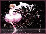 1girl angel_wings ankle_ribbon brown_hair card_captor_sakura character_name choker copyright_name dress feathered_wings full_body gloves green_eyes hair_ornament holding holding_staff kinokohime kinomoto_sakura open_mouth pink_ribbon reflecting_pool ribbon short_hair short_sleeves solo staff two_side_up white_dress white_gloves white_wings wings